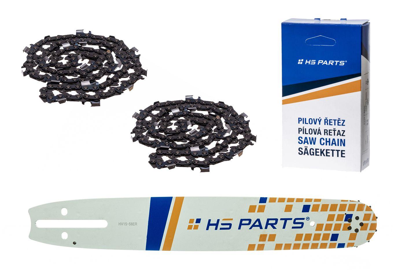 """HS PARTS Akční set vodící lišta 15"""" (38 cm) 3/8"""" .058"""" (1,5 mm) + 2 x pilový řetěz 56 čl."""