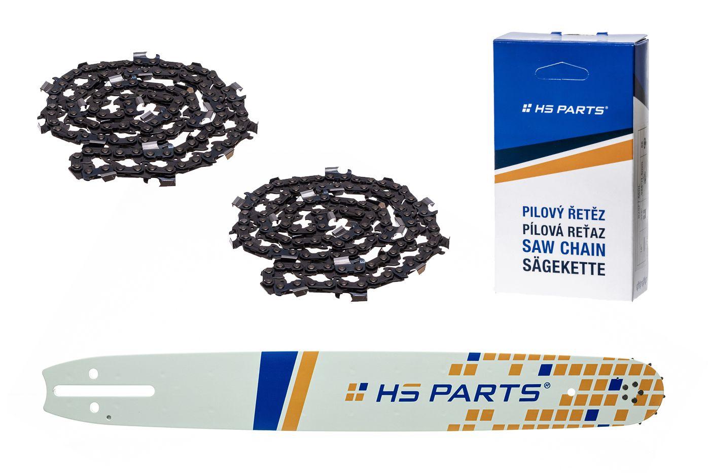 """HS PARTS Akční set vodící lišta 20"""" (50 cm) 3/8"""" .058"""" (1,5 mm) + 2 x pilový řetěz 72 čl."""