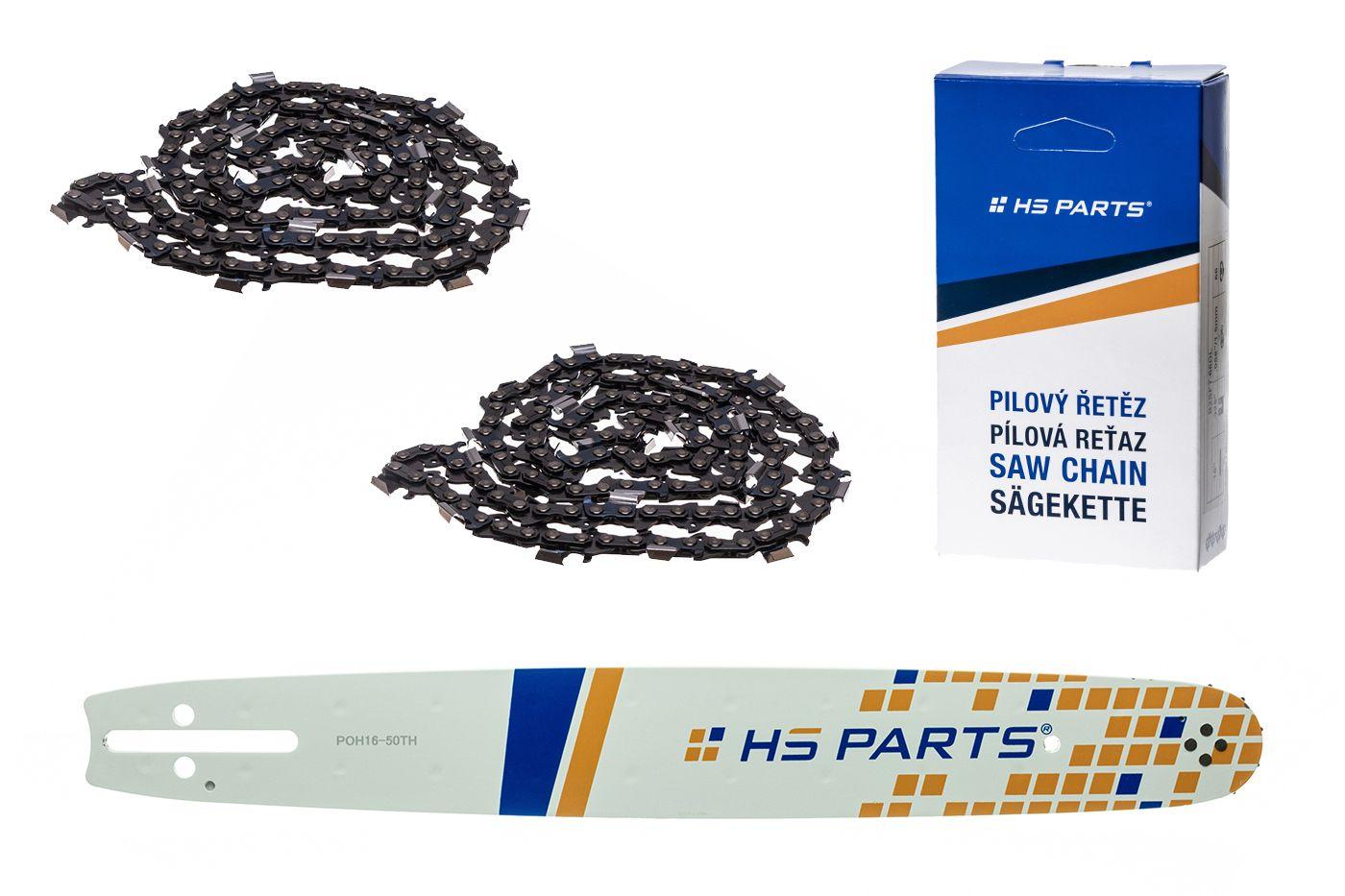 """HS PARTS Akční set vodící lišta 16"""" (40 cm) .325"""" .050"""" (1,3 mm) + 2 x pilový řetěz 66 čl."""