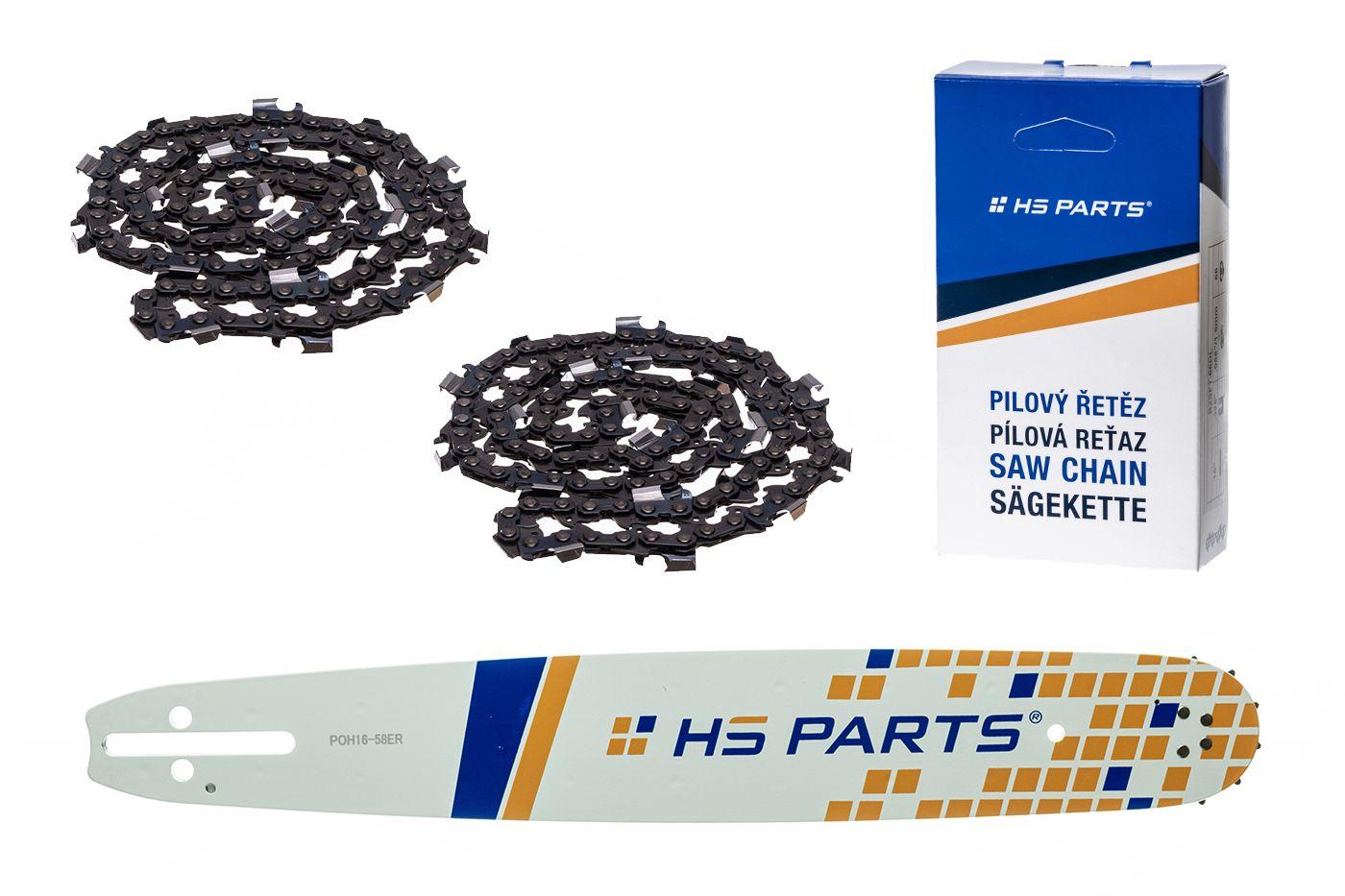 """HS PARTS Akční set vodící lišta 16"""" (40 cm) 3/8"""" .058"""" (1,5 mm) + 2 x pilový řetěz 60 čl."""