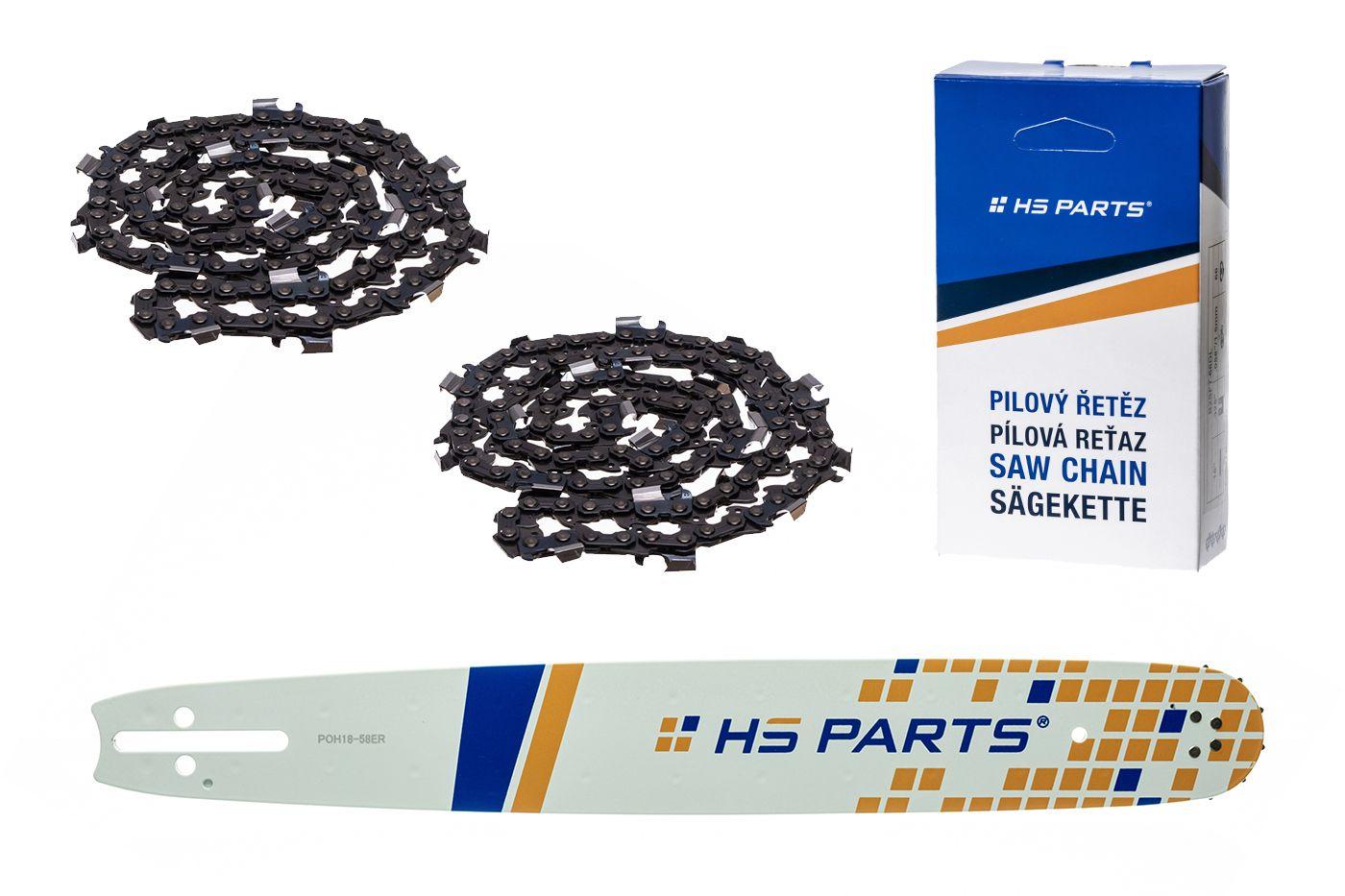 """HS PARTS Akční set vodící lišta 18"""" (45 cm) 3/8"""" .058"""" (1,5 mm) + 2 x pilový řetěz 64 čl."""