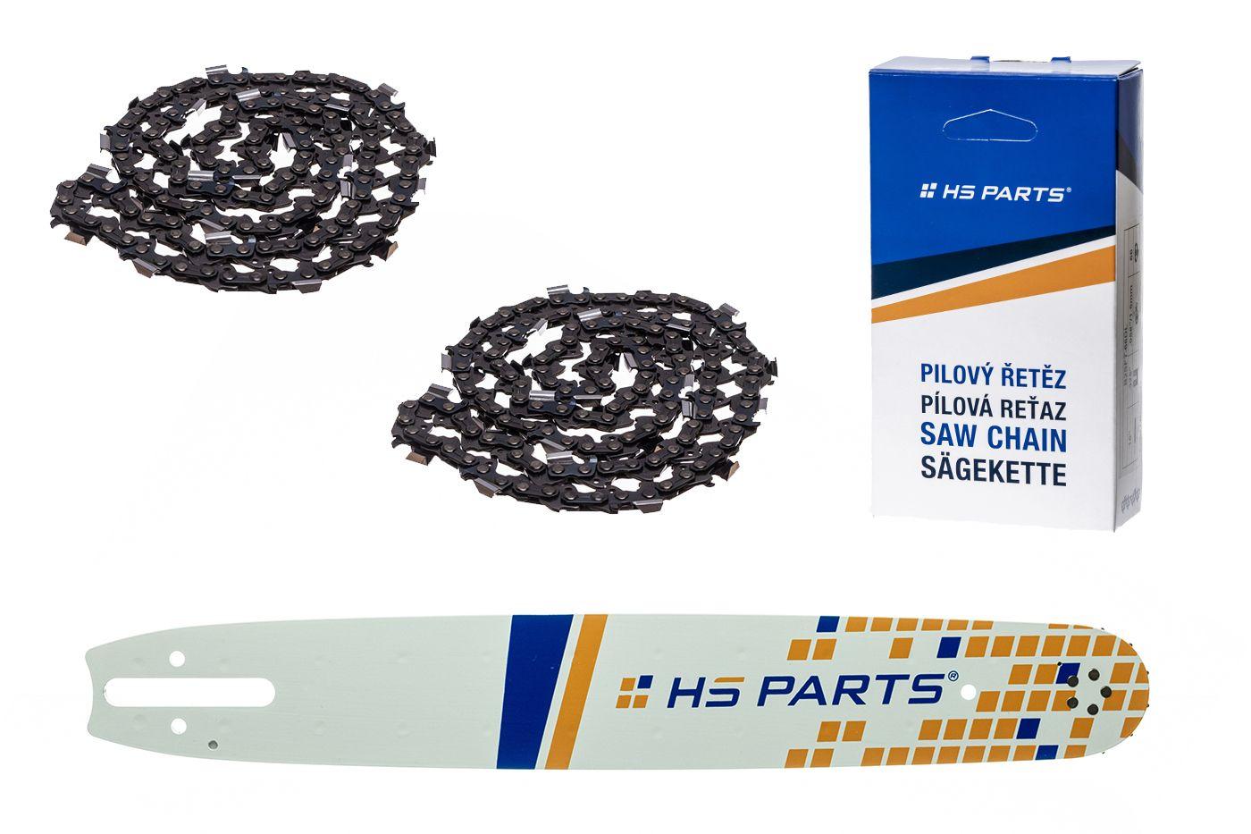 """HS PARTS Akční set vodící lišta 15"""" (38 cm) .325"""" .063"""" (1,6 mm) + 2 x pilový řetěz 62 čl."""
