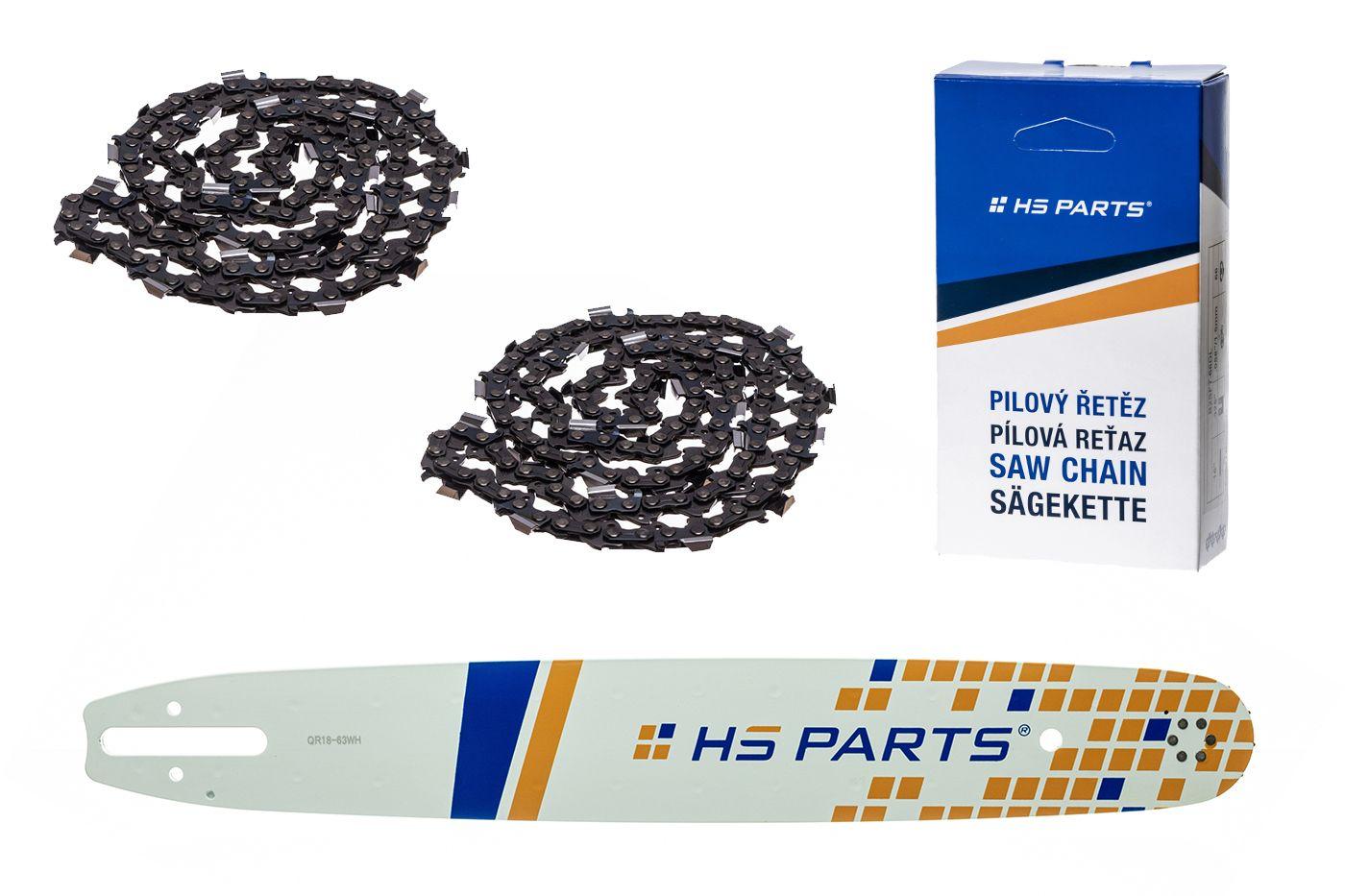 """HS PARTS Akční set vodící lišta 18"""" (45 cm) .325"""" .063"""" (1,6 mm) + 2 x pilový řetěz 74 čl."""