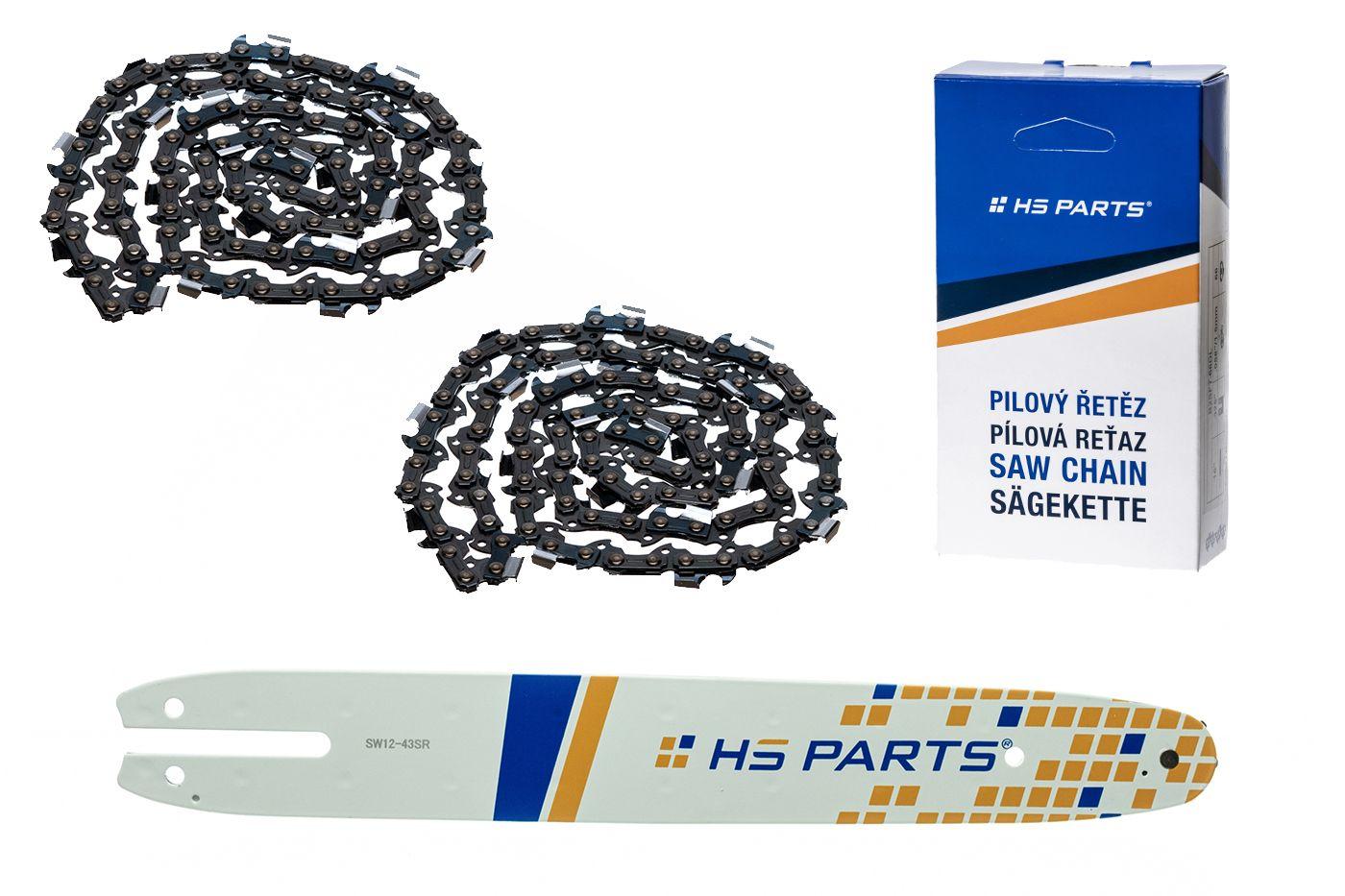 """HS PARTS Akční set vodící lišta 12"""" (30 cm) 3/8"""" .043"""" (1,1 mm) + 2 x pilový řetěz 44 čl."""