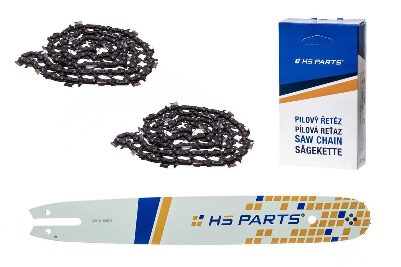 """HS PARTS Akční set vodící lišta 16"""" (40 cm) .325"""" .050"""" (1,3 mm) + 2 x pilový řetěz 62 čl."""