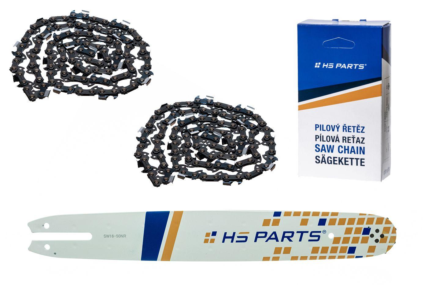"""HS PARTS Akční set vodící lišta 16"""" (40 cm) 3/8"""" .050"""" (1,3 mm) + 2 x pilový řetěz 55 čl."""