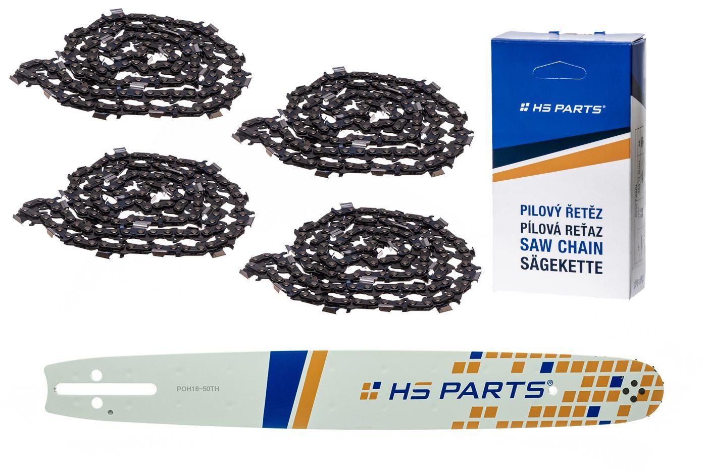 """HS PARTS Akční set vodící lišta 16"""" (40 cm) .325"""" .050"""" (1,3 mm) + 4 x pilový řetěz 66 čl."""