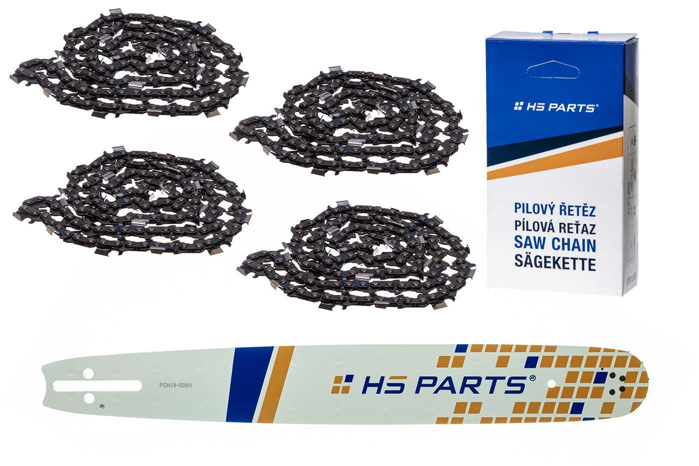 """HS PARTS Akční set vodící lišta 18"""" (45 cm) .325"""" .050"""" (1,3 mm) + 4 x pilový řetěz 72 čl."""