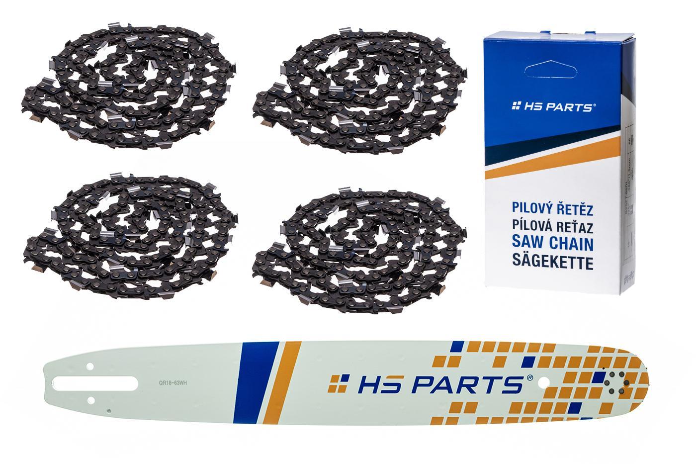 """HS PARTS Akční set vodící lišta 18"""" (45 cm) .325"""" .063"""" (1,6 mm) + 4 x pilový řetěz 74 čl."""