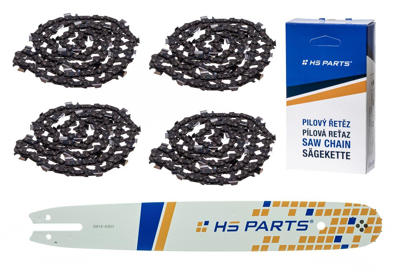 """HS PARTS Akční set vodící lišta 16"""" (40 cm) .325"""" .063"""" (1,6 mm) + 4 x pilový řetěz 62 čl."""
