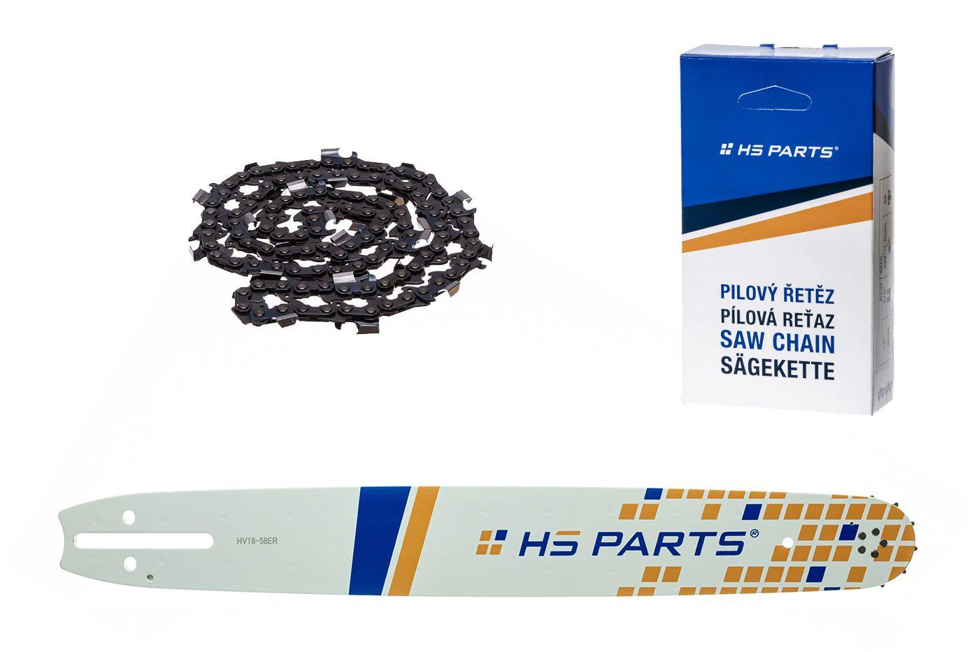 """HS PARTS Akční set vodící lišta 18"""" (45 cm) 3/8"""" .058"""" (1,5 mm) + pilový řetěz 68 čl."""