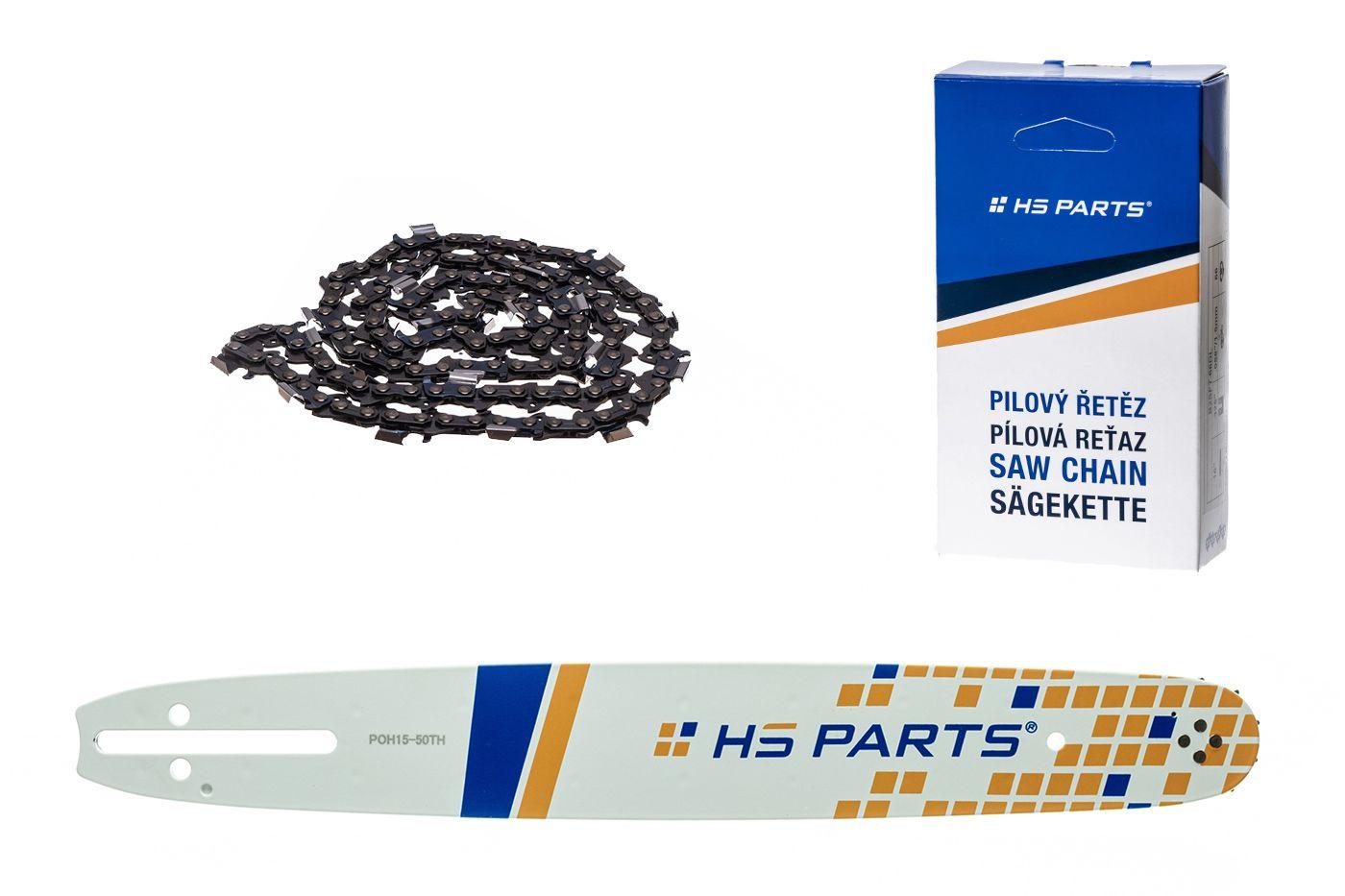 """HS PARTS Akční set vodící lišta 15"""" (38 cm) .325"""" .050"""" (1,3 mm) + pilový řetěz 64 čl."""
