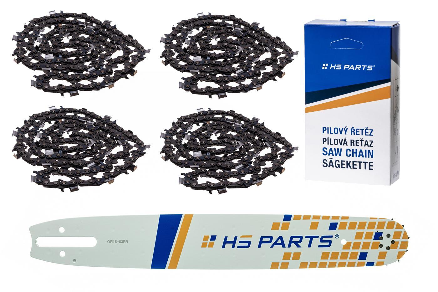 """HS PARTS Akční set vodící lišta 16"""" (40 cm) 3/8"""" .063"""" (1,6 mm) + 4 x pilový řetěz 60 čl."""