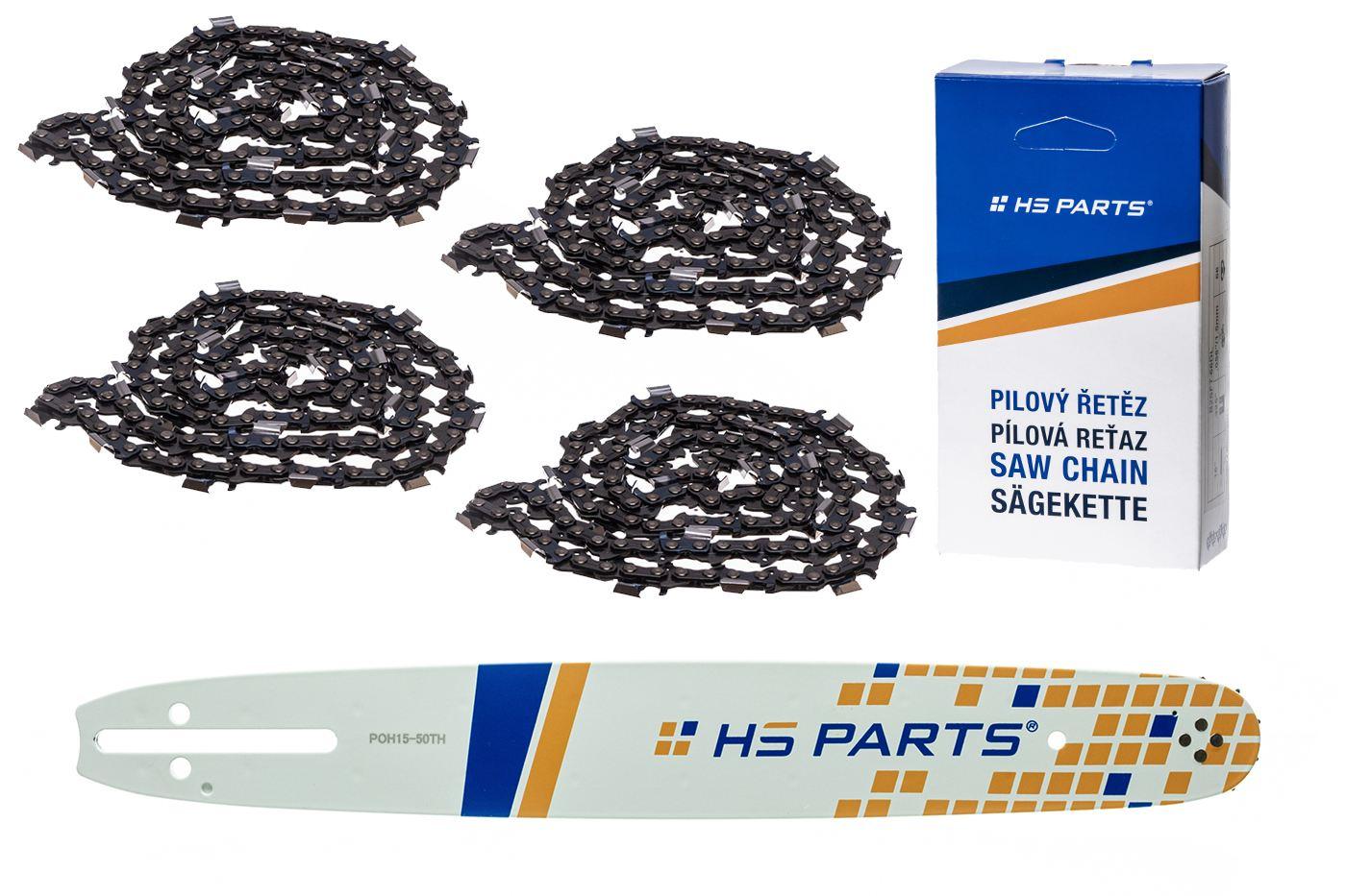 """HS PARTS Akční set vodící lišta 15"""" (38 cm) .325"""" .050"""" (1,3 mm) + 4 x pilový řetěz 64 čl."""