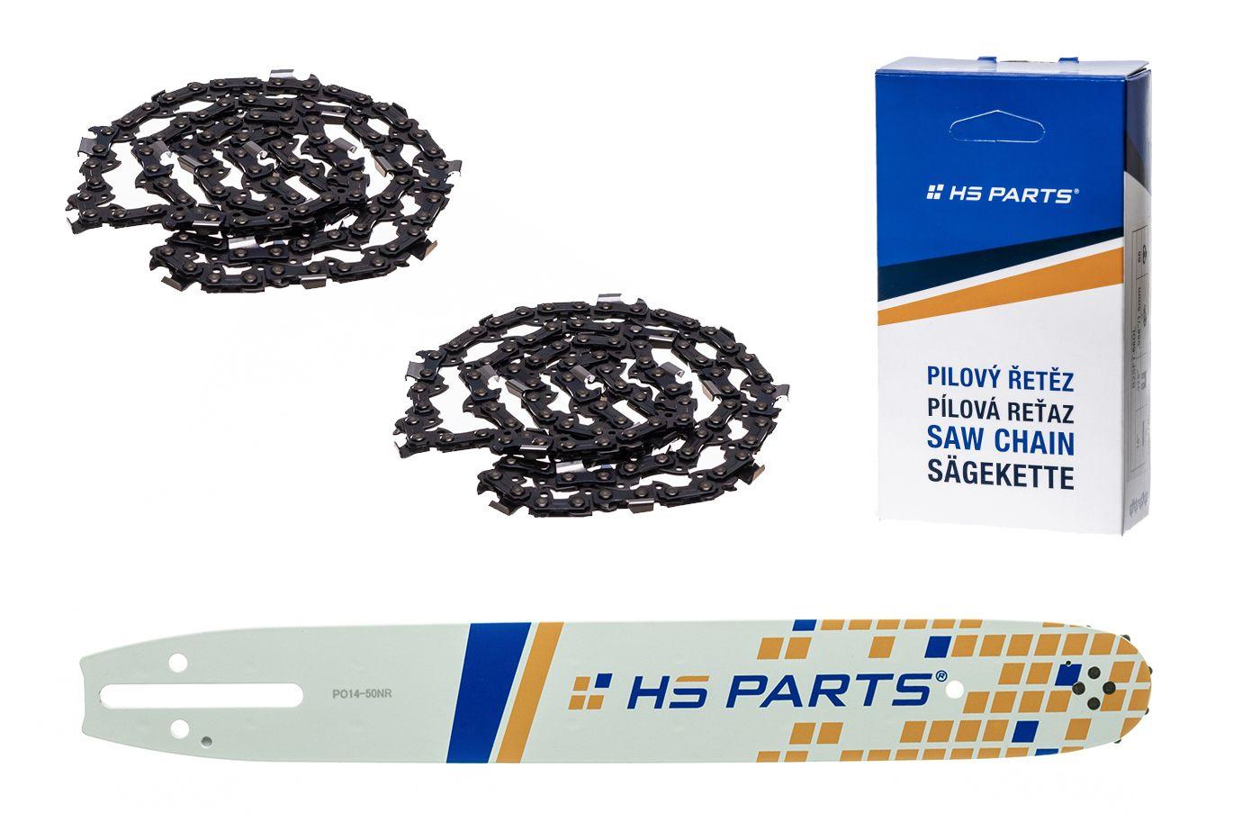 """HS PARTS Akční set vodící lišta 14"""" (35 cm) 3/8"""" .050"""" (1,3 mm) + 2 x pilový řetěz 52 čl."""
