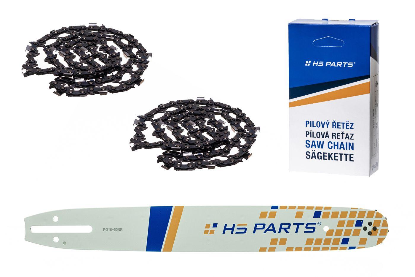 """HS PARTS Akční set vodící lišta 16"""" (40 cm) 3/8"""" .050"""" (1,3 mm) + 2 x pilový řetěz 56 čl."""