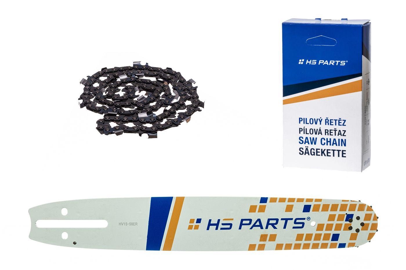 """HS PARTS Akční set vodící lišta 15"""" (38 cm) 3/8"""" .058"""" (1,5 mm) + pilový řetěz 56 čl."""