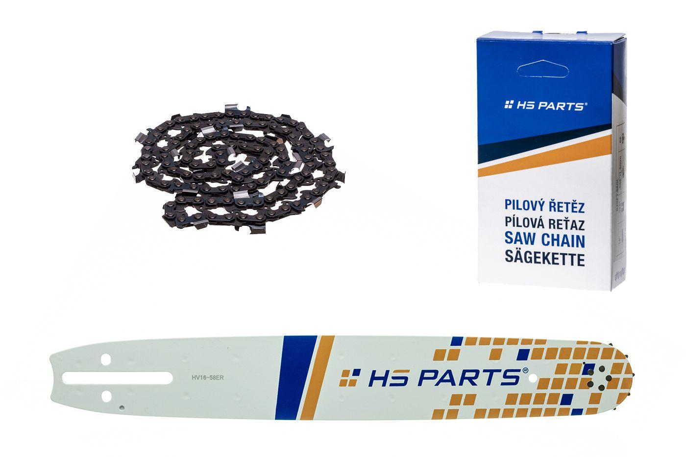 """HS PARTS Akční set vodící lišta 16"""" (40 cm) 3/8"""" .058"""" (1,5 mm) + pilový řetěz 60 čl."""