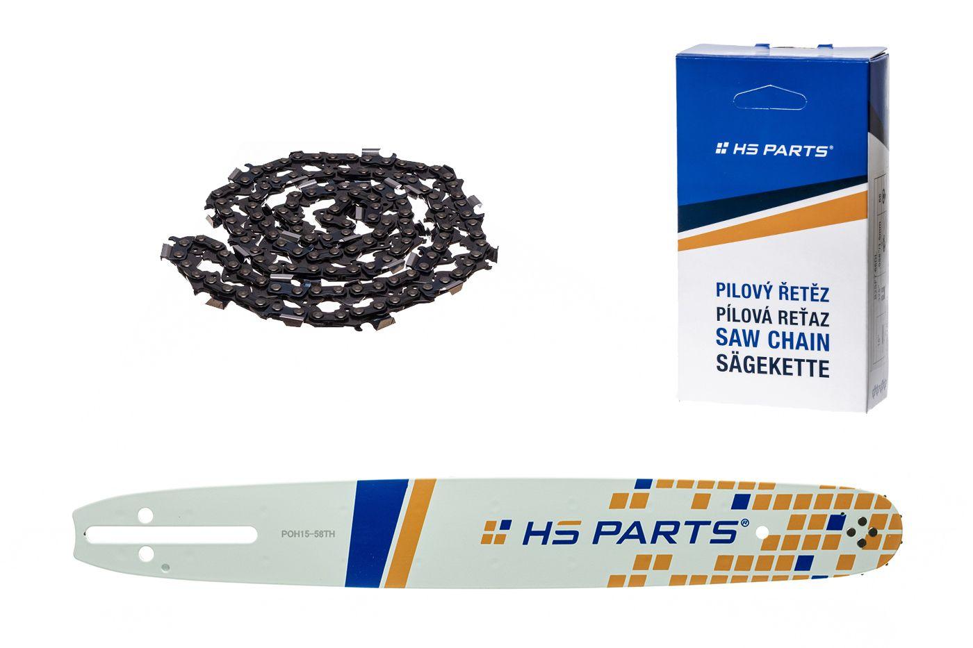 """HS PARTS Akční set vodící lišta 15"""" (38 cm) .325"""" .058"""" (1,5 mm) + pilový řetěz 64 čl."""