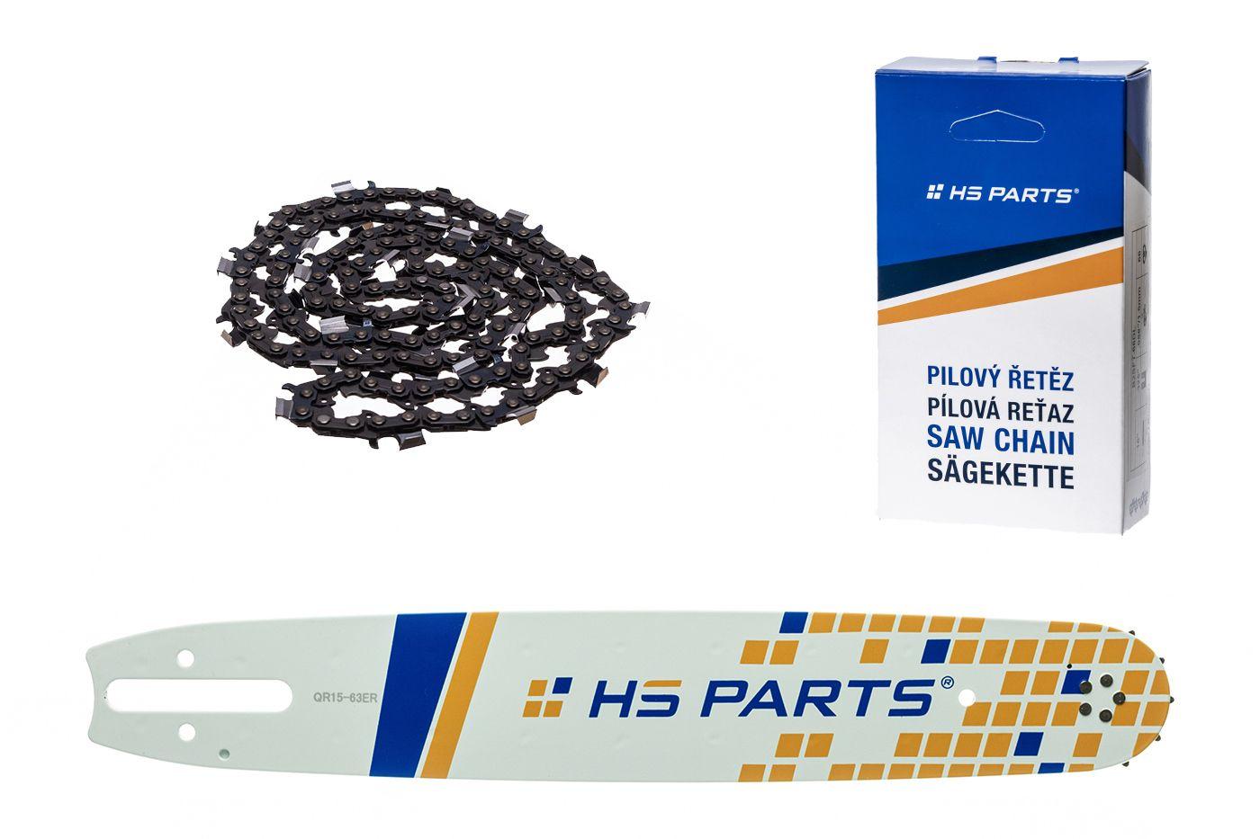 """HS PARTS Akční set vodící lišta 15"""" (38 cm) 3/8"""" .063"""" (1,6 mm) + pilový řetěz 56 čl."""