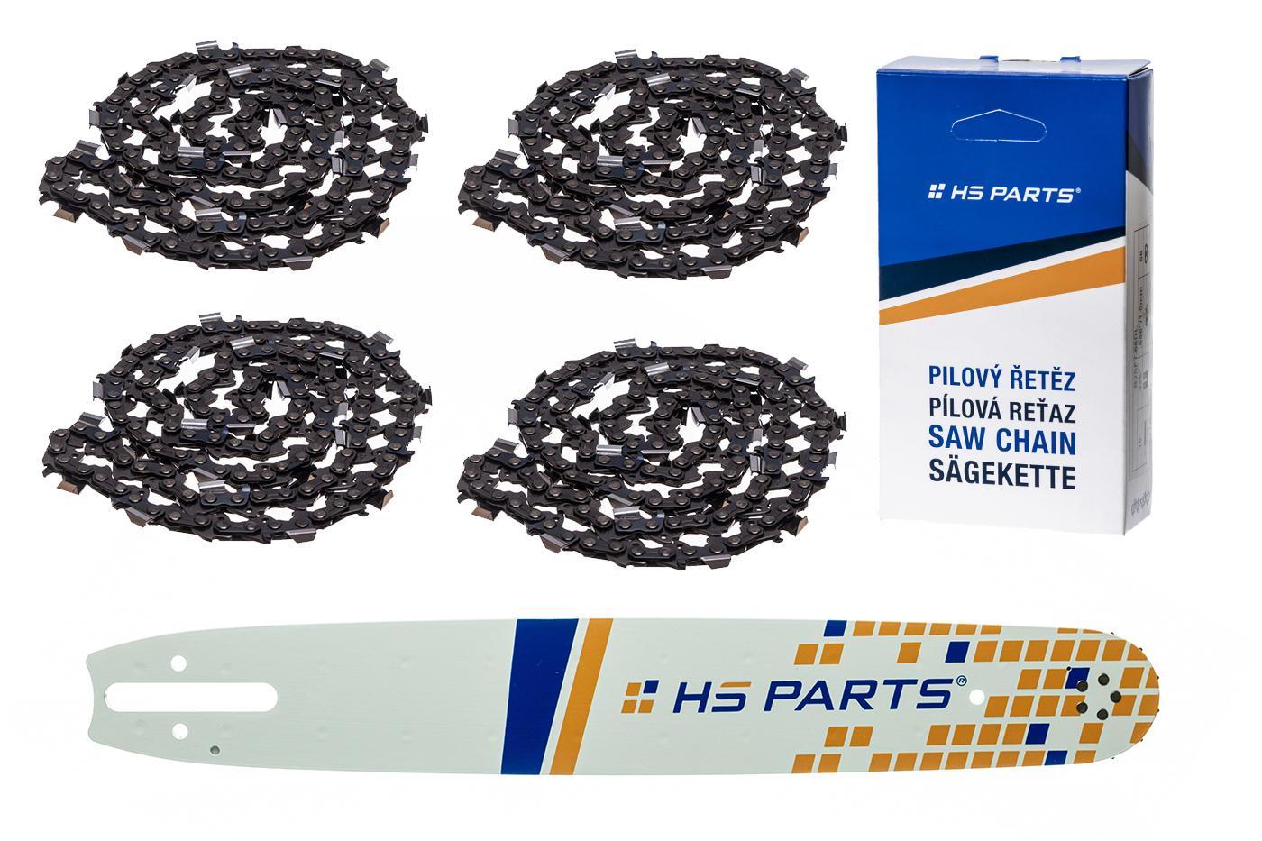 """HS PARTS Akční set vodící lišta 15"""" (38 cm) .325"""" .063"""" (1,6 mm) + 4 x pilový řetěz 62 čl."""