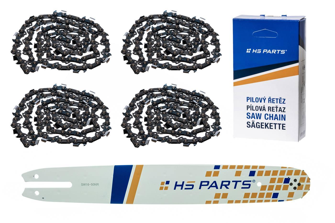 """HS PARTS Akční set vodící lišta 16"""" (40 cm) 3/8"""" .050"""" (1,3 mm) + 4 x pilový řetěz 55 čl."""