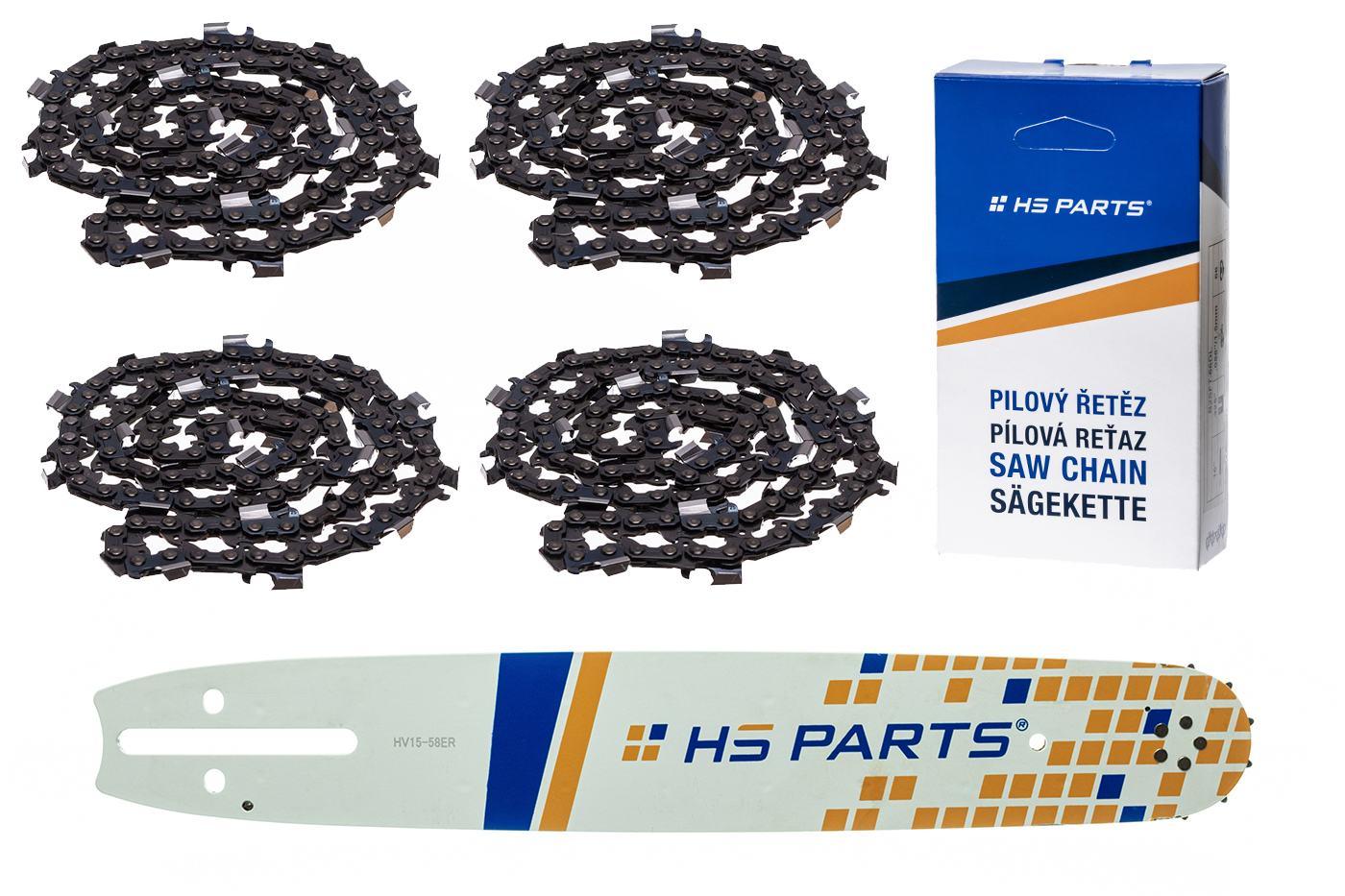 """HS PARTS Akční set vodící lišta 15"""" (38 cm) 3/8"""" .058"""" (1,5 mm) + 4 x pilový řetěz 56 čl."""