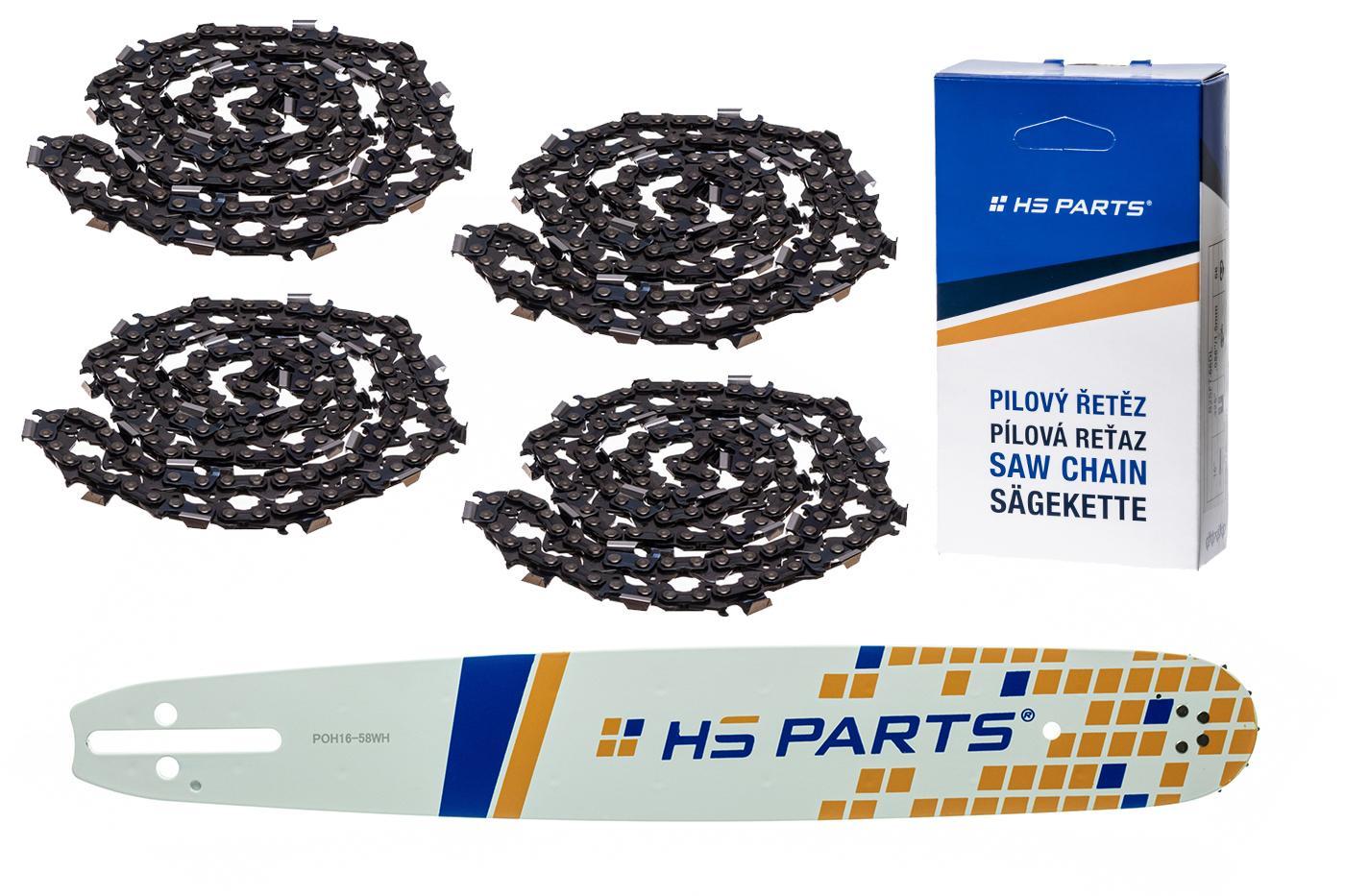 """HS PARTS Akční set vodící lišta 16"""" (40 cm) .325"""" .058"""" (1,5 mm) + 4 x pilový řetěz 66 čl."""