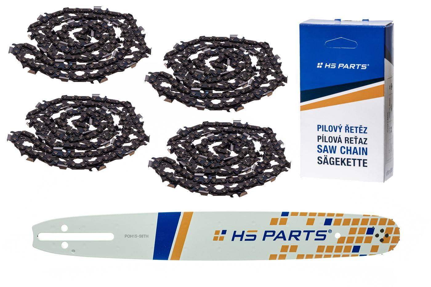 """HS PARTS Akční set vodící lišta 15"""" (38 cm) .325"""" .058"""" (1,5 mm) + 4 x pilový řetěz 64 čl."""