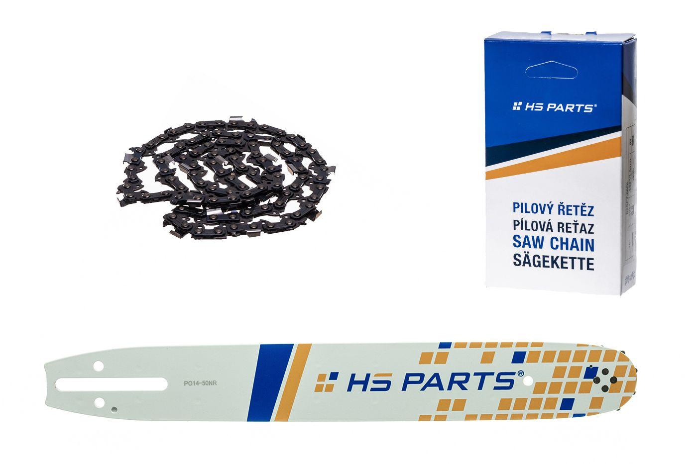"""HS PARTS Akční set vodící lišta 14"""" (35 cm) 3/8"""" .050"""" (1,3 mm) + pilový řetěz 52 čl."""