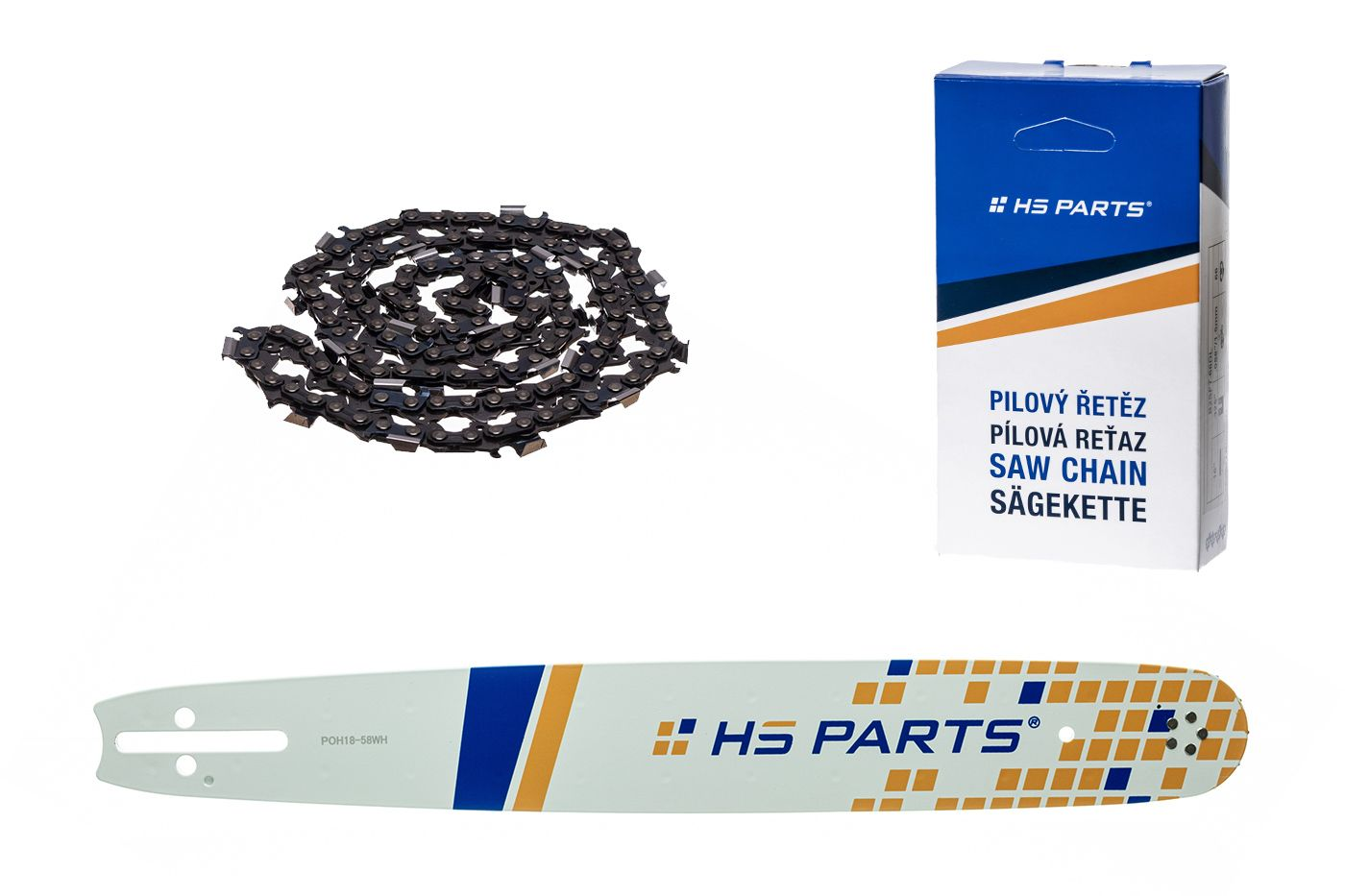 """HS PARTS Akční set vodící lišta 18"""" (45 cm) .325"""" .058"""" (1,5 mm) + pilový řetěz 72 čl."""