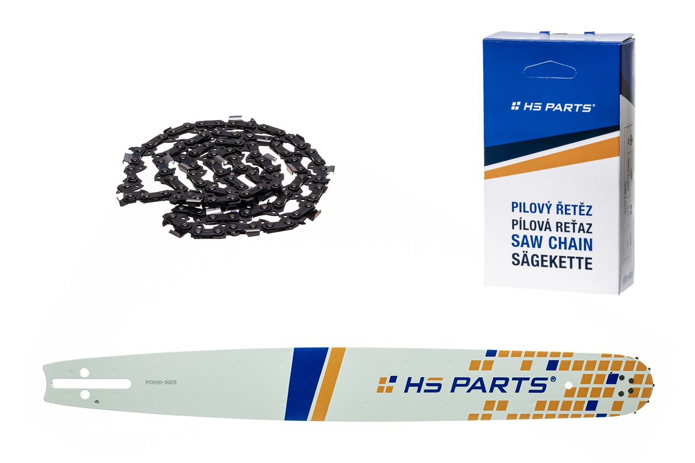 """HS PARTS Akční set vodící lišta 20"""" (50 cm) 3/8"""" .050"""" (1,3 mm) + pilový řetěz 72 čl."""