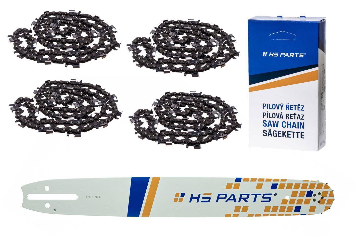 """HS PARTS Akční set vodící lišta 18"""" (45 cm) 3/8"""" .058"""" (1,5 mm) + 4 x pilový řetěz 68 čl."""