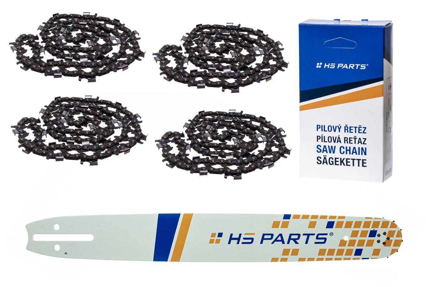 """HS PARTS Akční set vodící lišta 20"""" (20 cm) 3/8"""" .058"""" (1,5 mm) + 4 x pilový řetěz 72 čl."""
