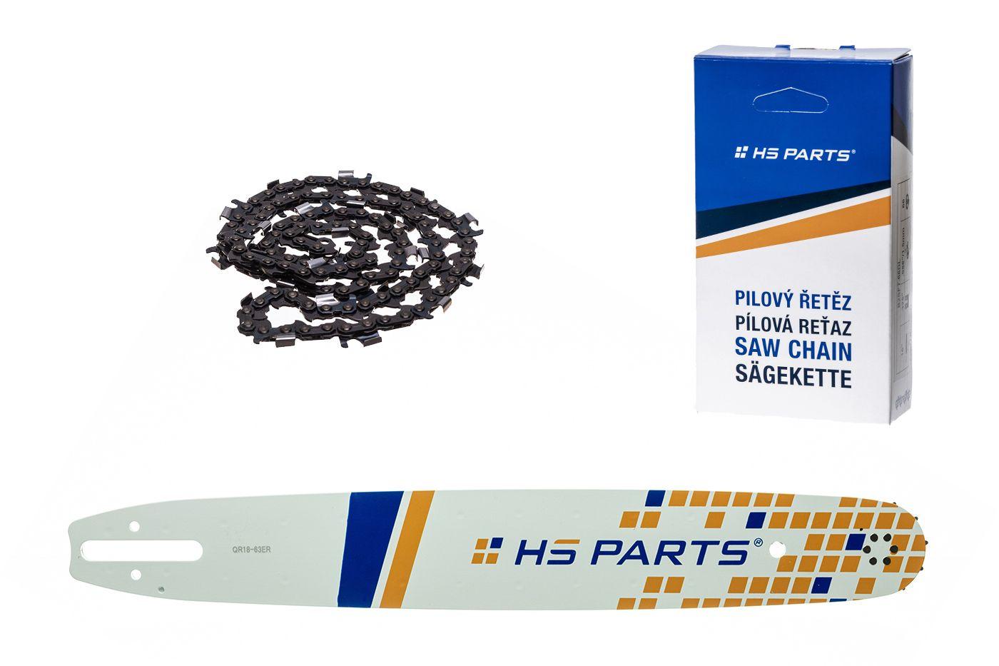 """HS PARTS Akční set vodící lišta 18"""" (45 cm) 3/8"""" .063"""" (1,6 mm) + pilový řetěz 66 čl."""