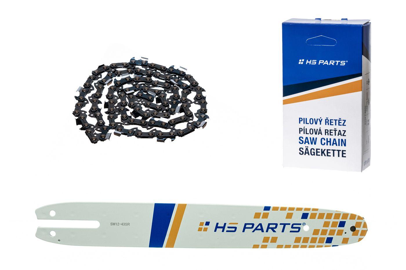 """HS PARTS Akční set vodící lišta 12"""" (30 cm) 3/8"""" .043"""" (1,1 mm) + pilový řetěz 44 čl."""