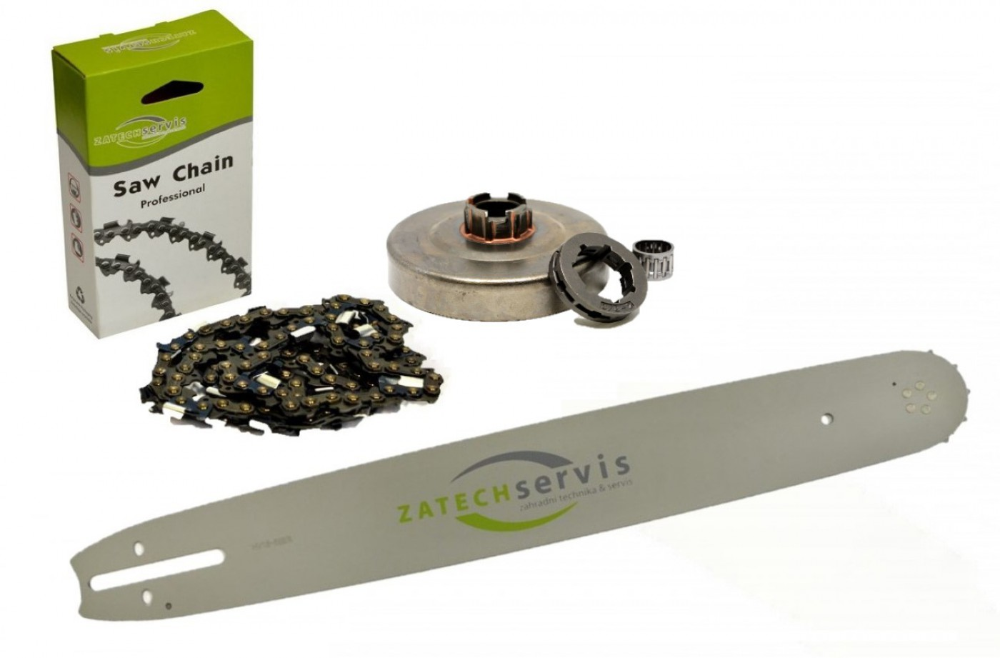 Lišta 45cm + řetěz 68 článků 3/8 1,5 mm + řetězka 268 pro Husqvarnu