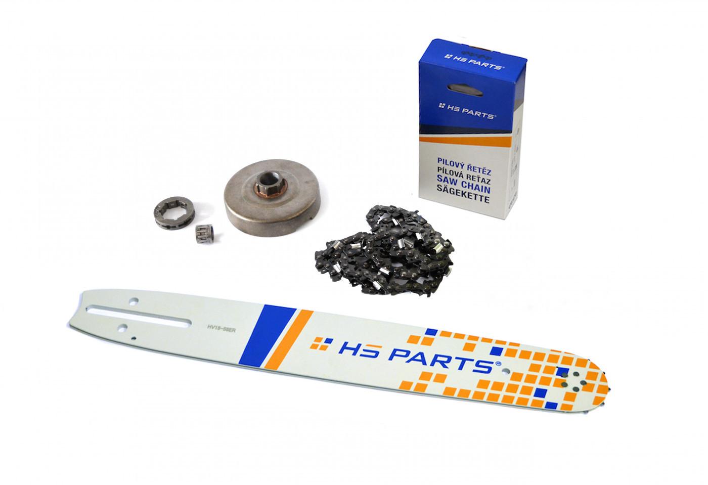 """HS PARTS Vodící lišta 15""""(38cm) + řetěz .3/8"""" 1,5mm 56 čl. + řetězka Husqvarna 365"""