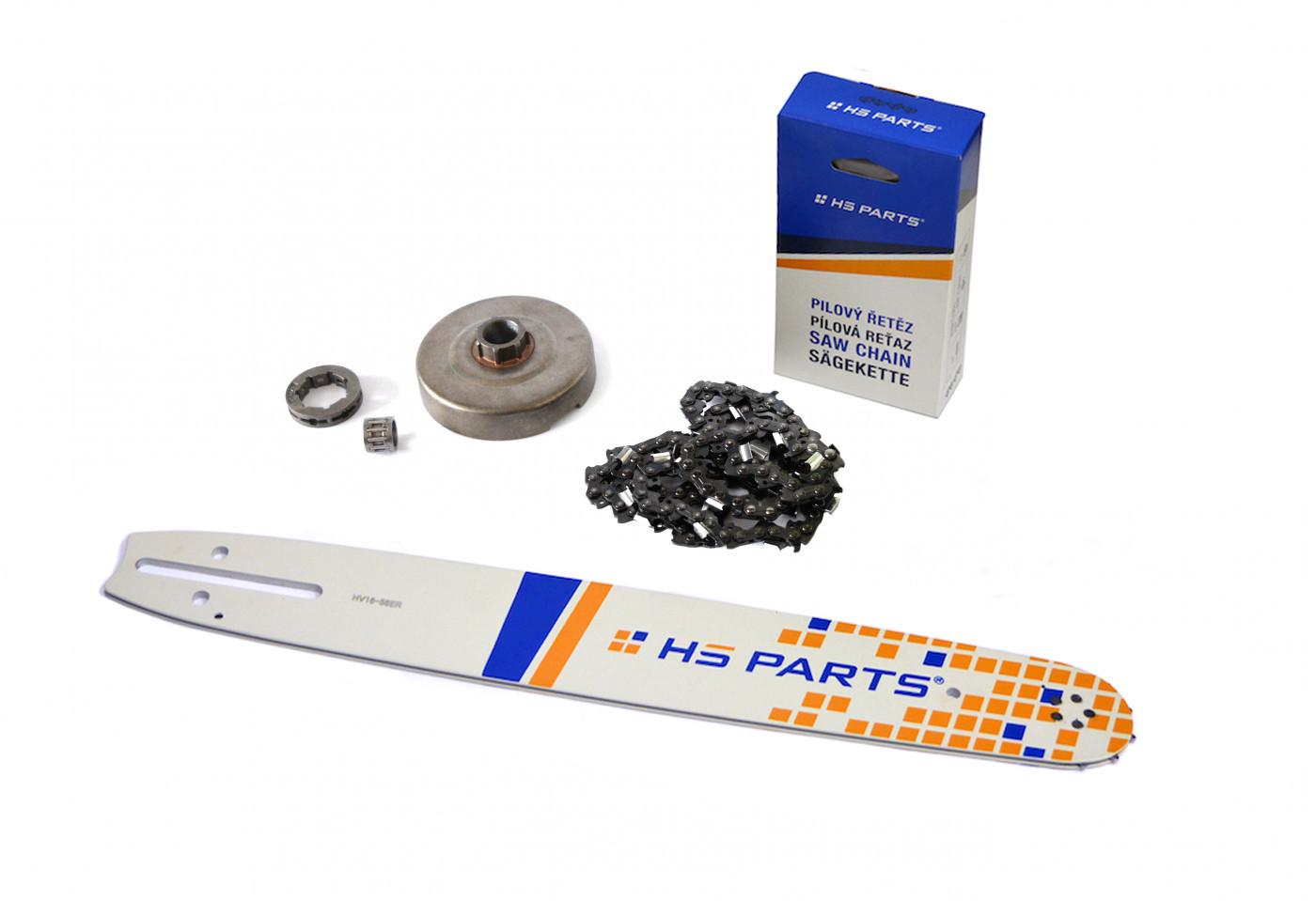 """HS PARTS Vodící lišta 16""""(40cm) + řetěz .3/8"""" 1,5mm 60 čl. + řetězka Husqvarna 365"""