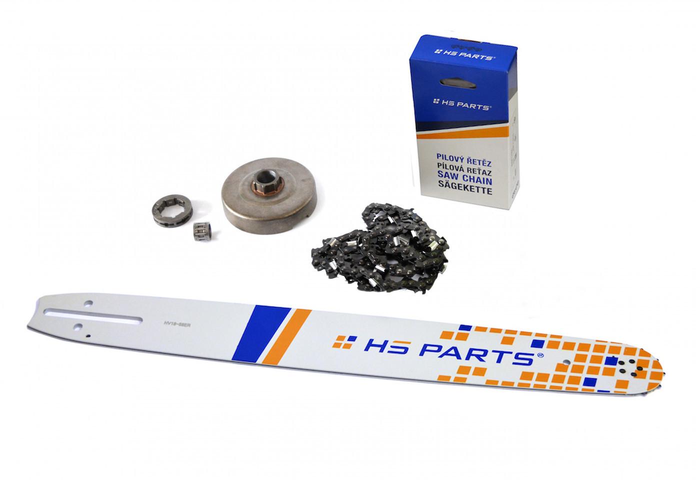 """HS PARTS Vodící lišta 18""""(45cm) + řetěz .3/8"""" 1,5mm 68 čl. + řetězka Husqvarna 365"""