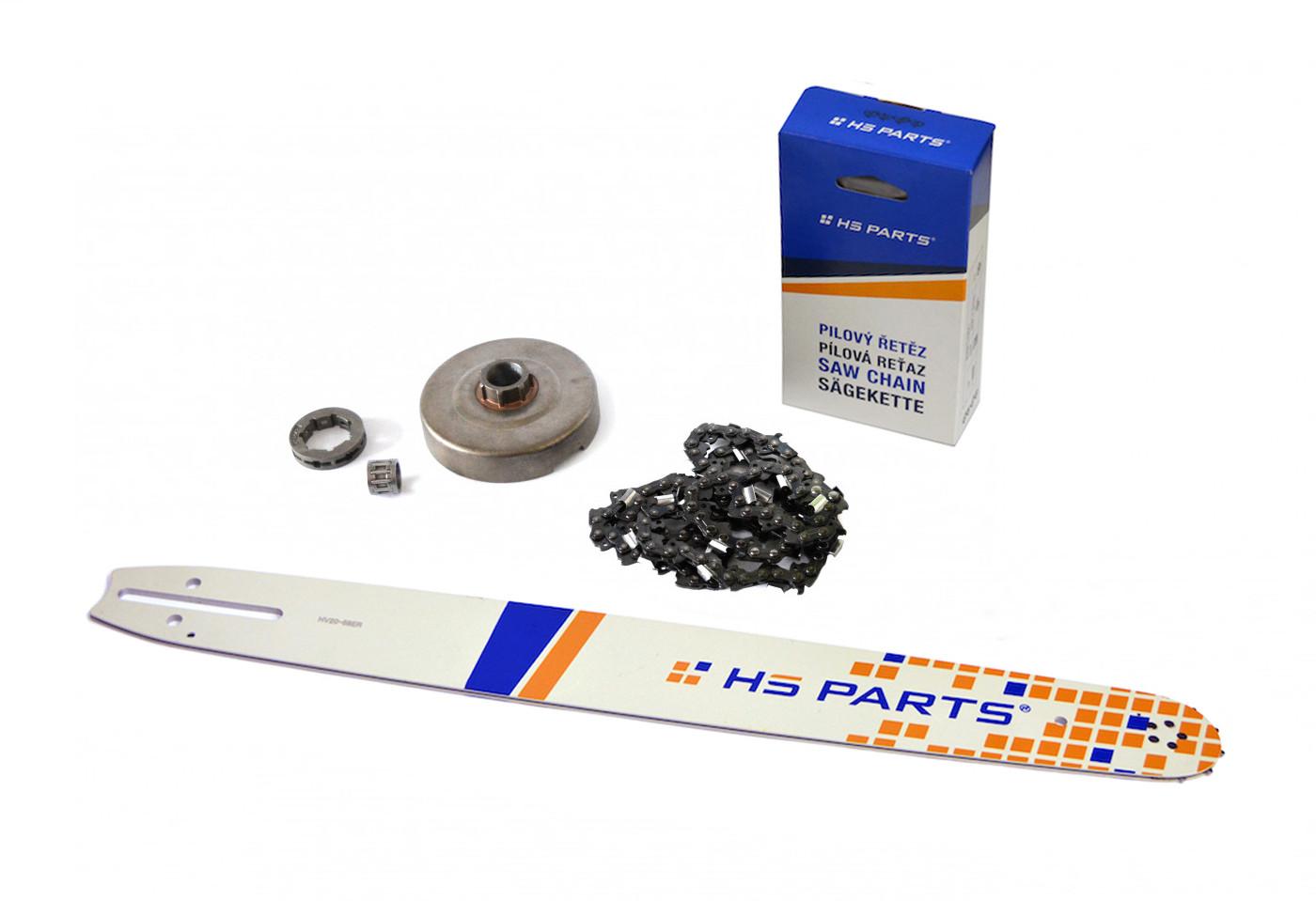 """HS PARTS Vodící lišta 20""""(50cm) + řetěz .3/8"""" 1,5mm 72 čl. + řetězka Husqvarna 365"""