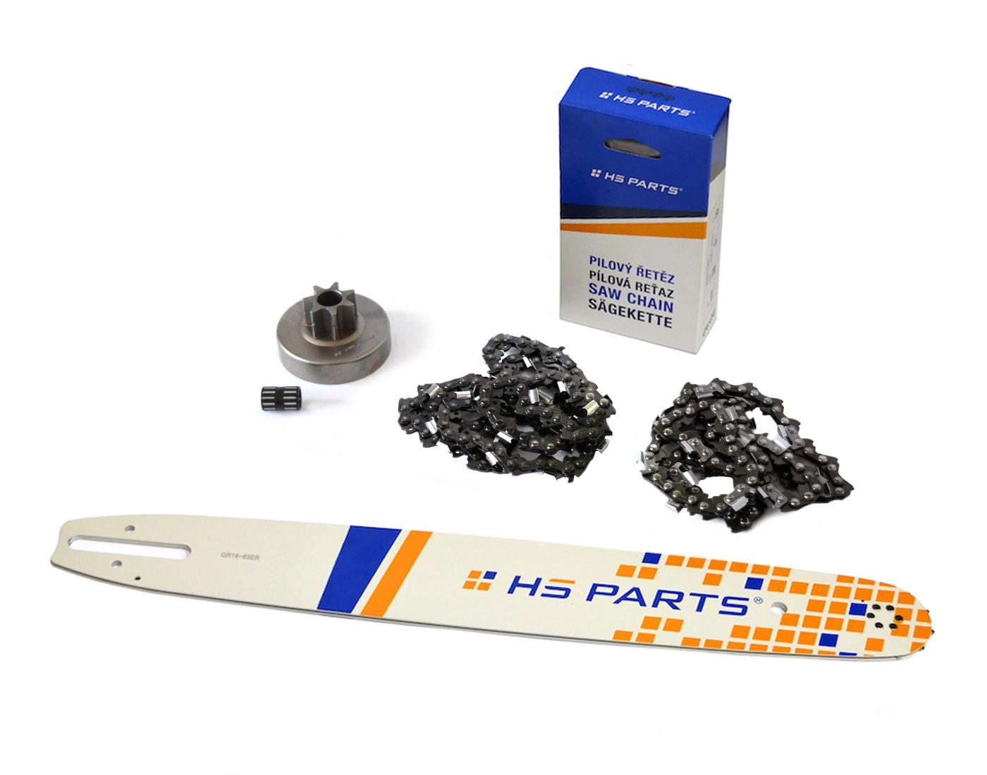 Lišta 45cm + 2x řetěz 66 článků 3/8 1,6mm+ řetězka Stihl MS380