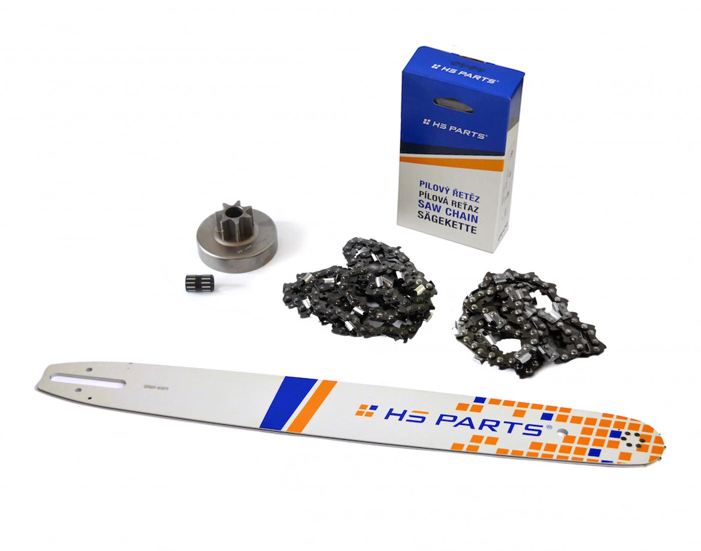 Lišta 50cm + 2x řetěz 72 článků 3/8 1,6 mm+ řetězka Stihl MS380