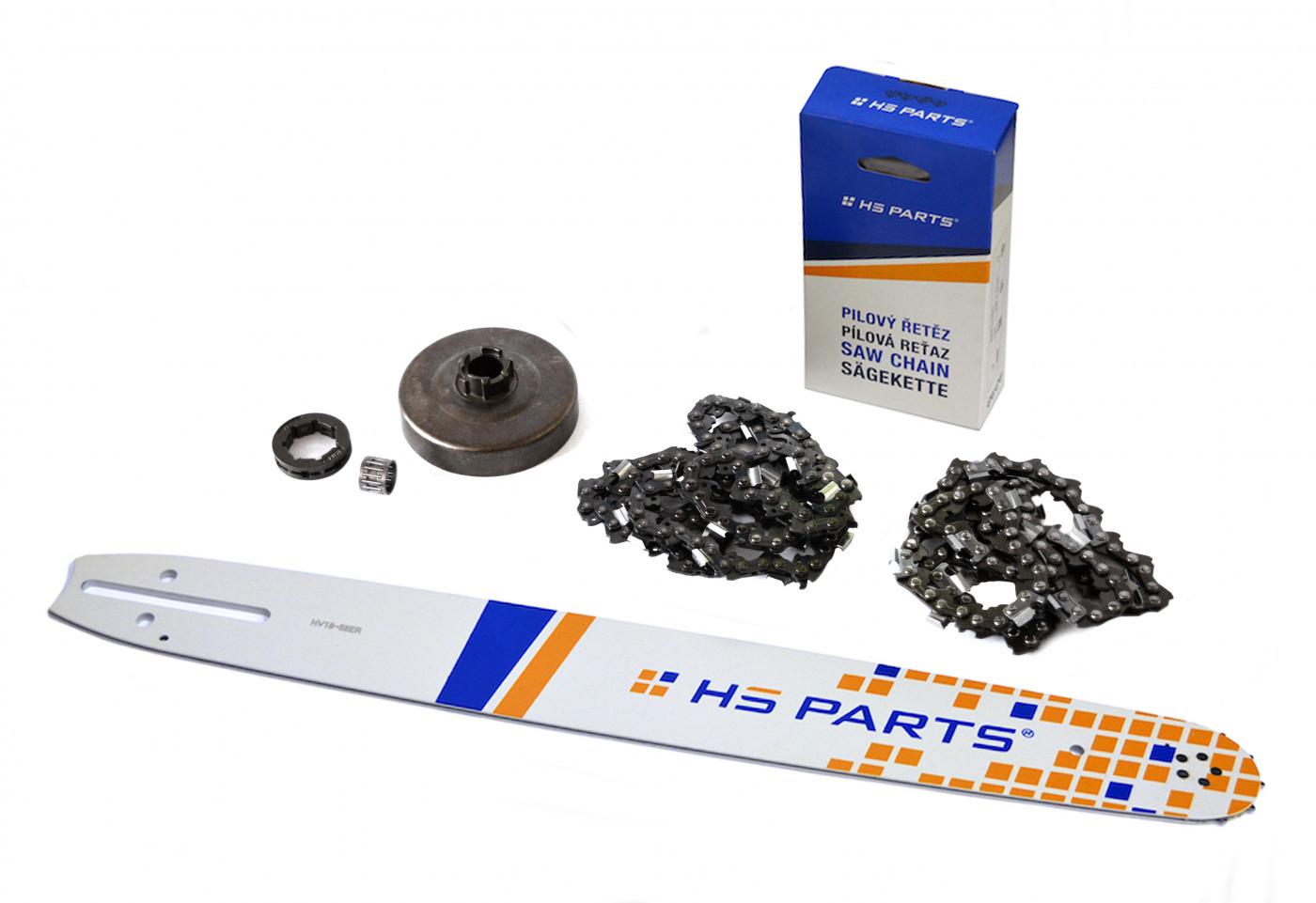 Lišta 45cm + 2x řetěz 68 článků 3/8 1,5 mm + řetězka  Husqvarna 268
