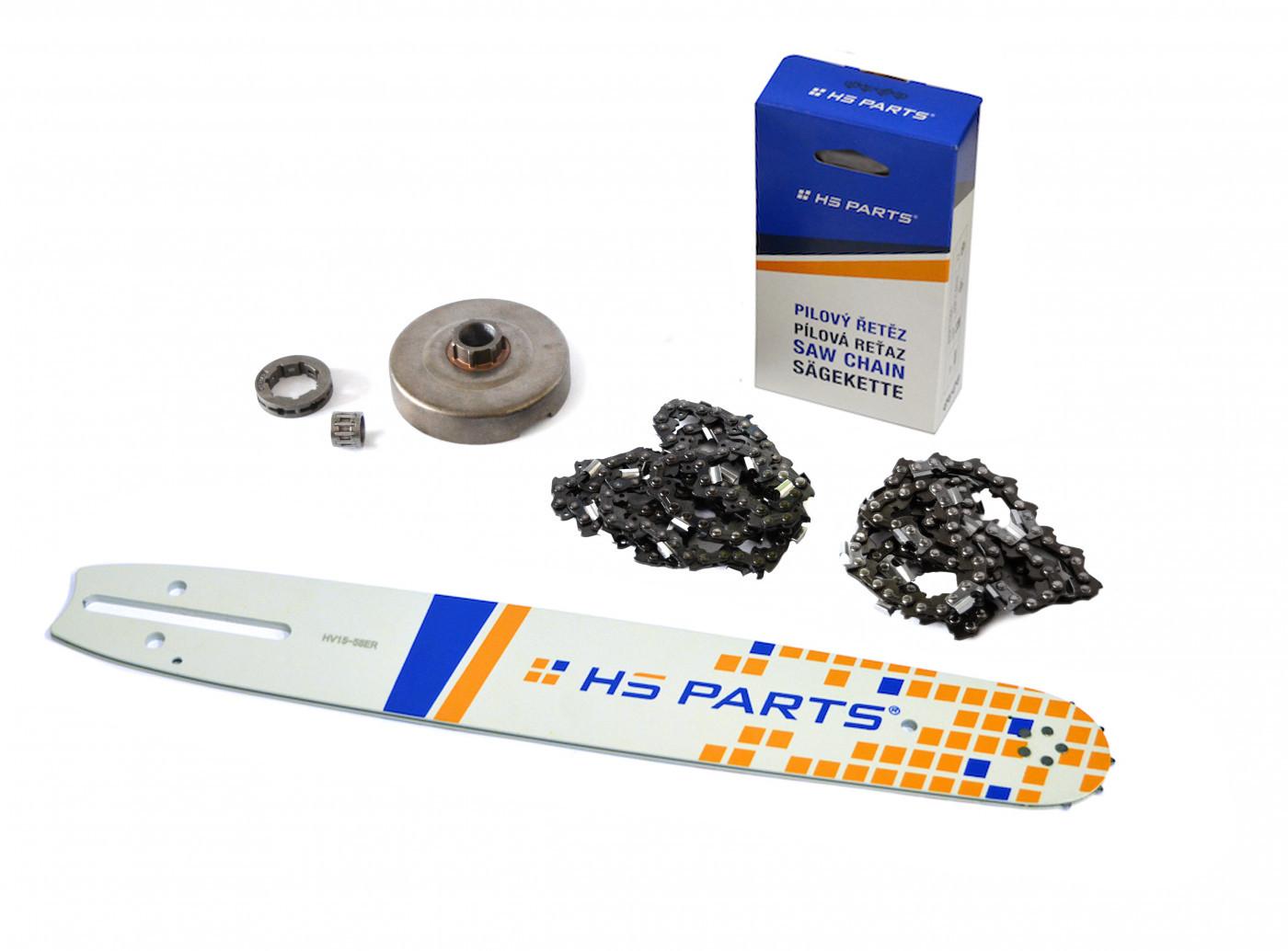 """HS PARTS Vodící lišta 15""""(38cm) + 2 x řetěz .3/8"""" 1,5mm 56 čl. + řetězka Husqvarna 365"""