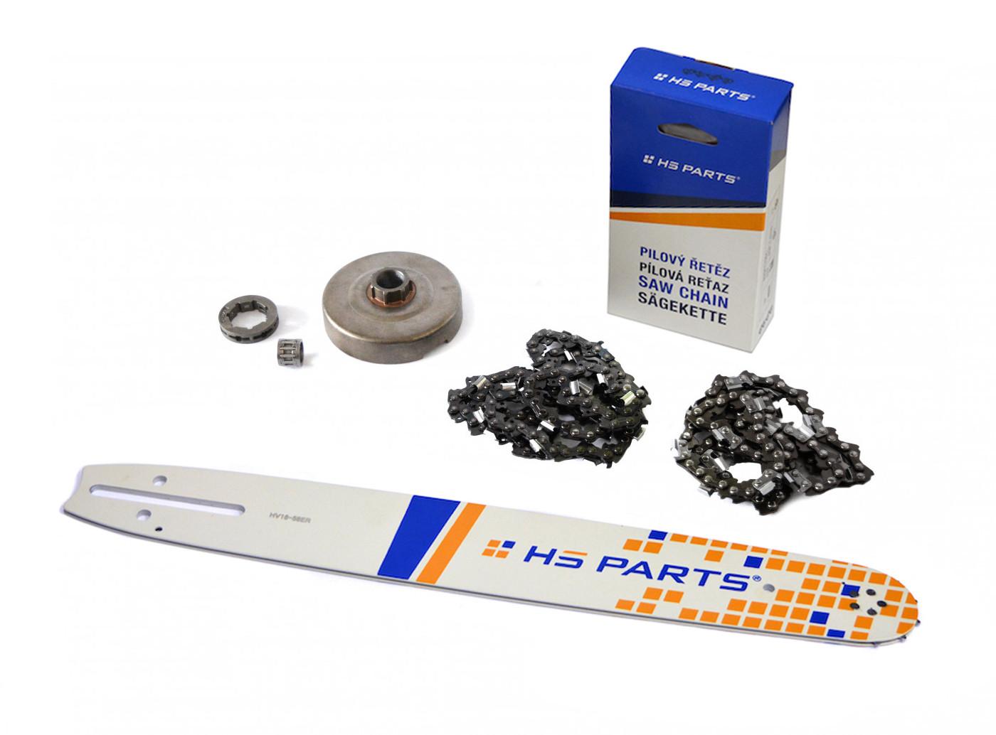 """HS PARTS Vodící lišta 16""""(40cm) + 2 x řetěz .3/8"""" 1,5mm 60 čl. + řetězka Husqvarna 365"""