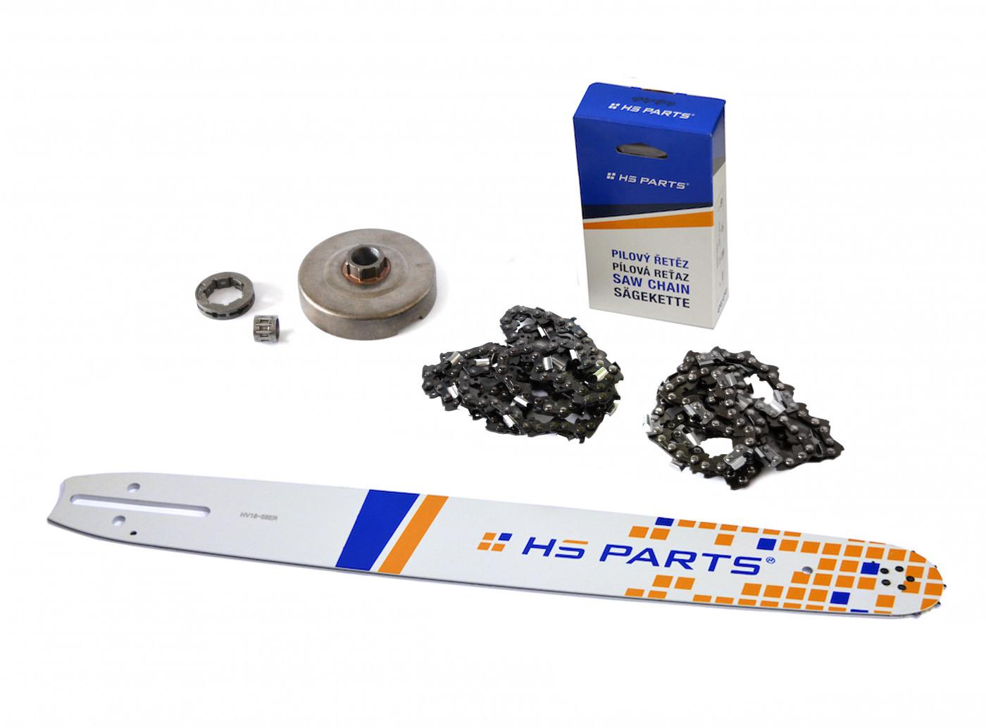 """HS PARTS Vodící lišta 18""""(45cm) + 2 x řetěz .3/8"""" 1,5mm 68 čl. + řetězka Husqvarna 365"""