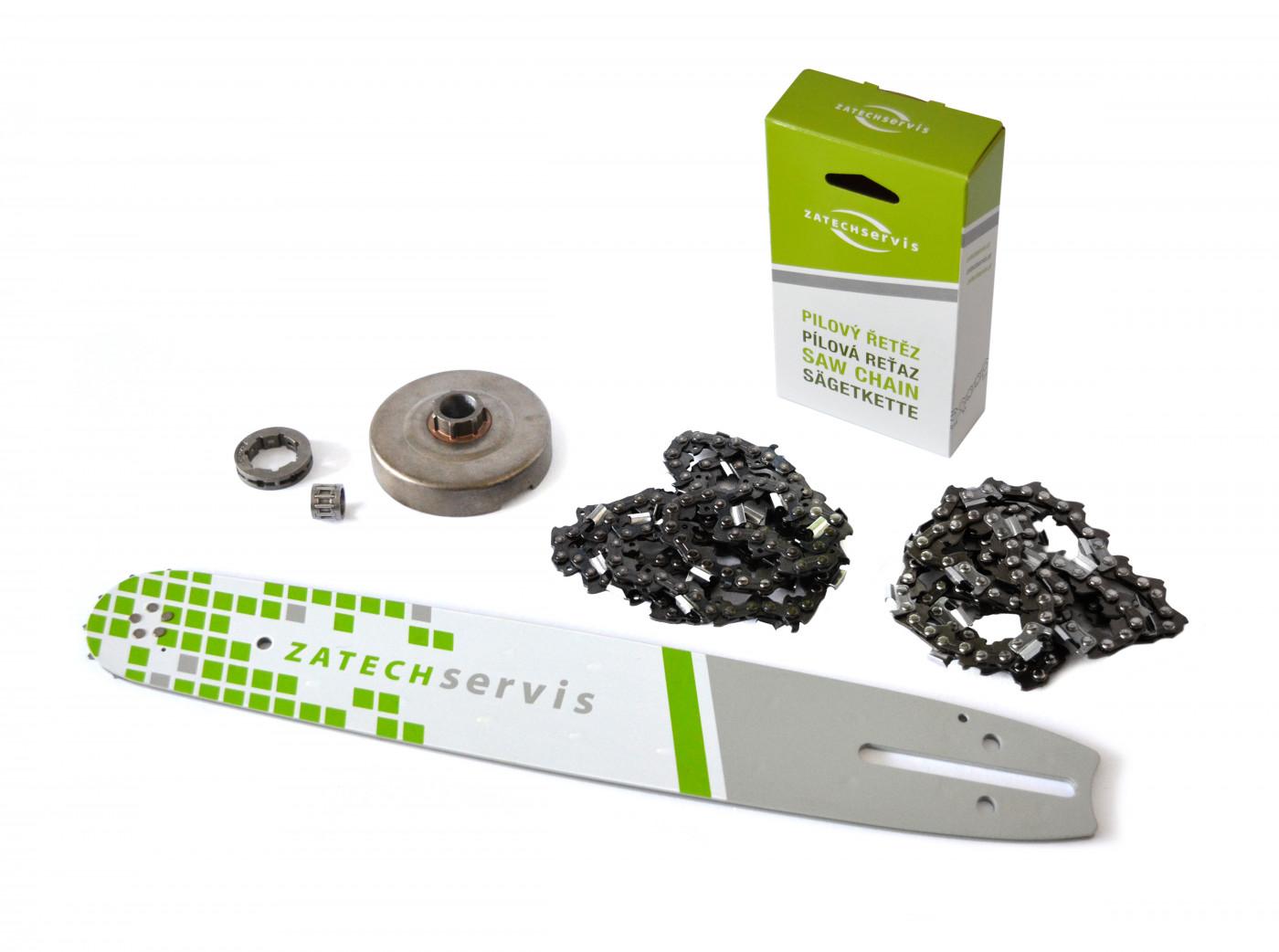 Lišta 35cm +2x pilový řetěz 3/8, 1,3mm - 52 článků + řetězka pro Partner 350 351