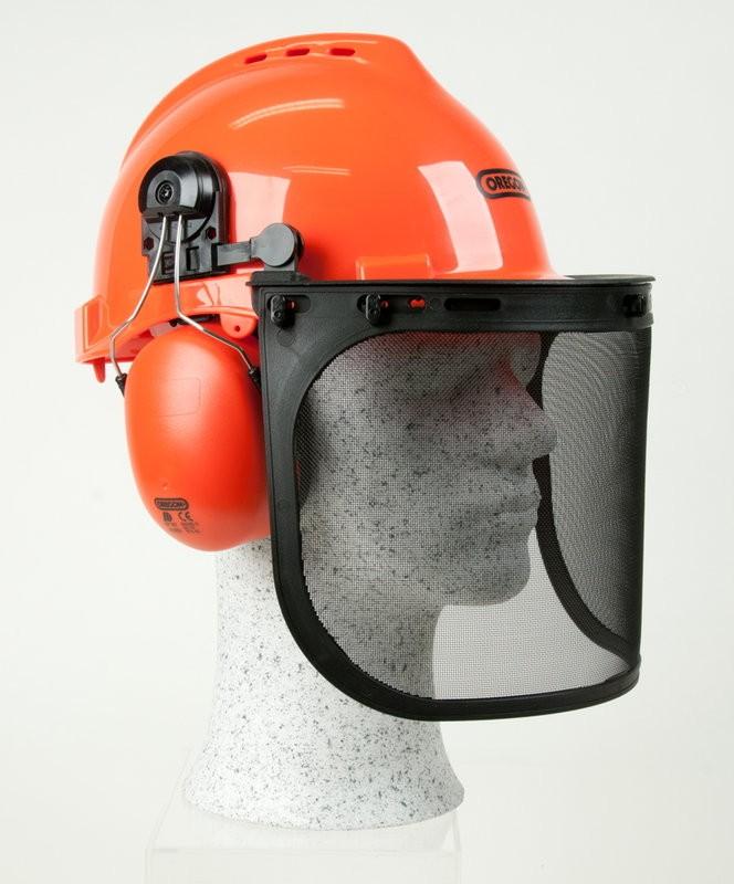 Ochranná přilba pro dřevorubce YUKON - sluchátka 25,9 dB, ochranný šťít BHP