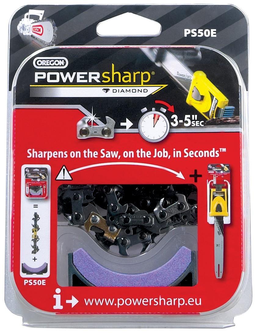 """Pilový řetěz 3/8""""  1,3mm  PowerSharp PS44E 44článků (hranatý zub)+ ostřící kámen"""